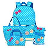Moonwind Polka Dot 3pcs Kids Book Bag School Backpack Handbag Purse Girls Teen (Blue 4Pcs Polka Dots)