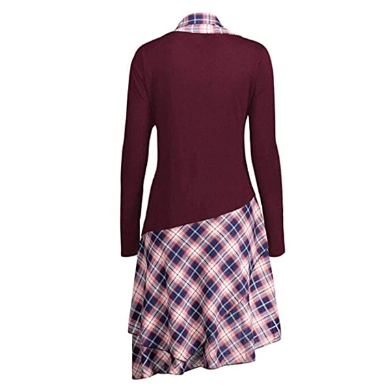 OverDose mujer Irregulares De Encaje Casual Vestido De Moda Panel De Tela Escocesa Barato MáS Despacho De TamañO Mejor Venta Top Largo Blusas Camiseta ...