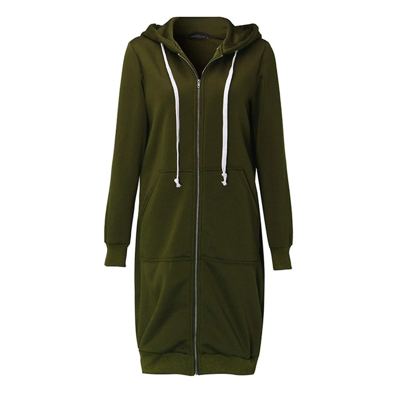 Womens Casual Regular Fit Hoodie Long Sleeve Zipper Outerwear Hoodies Sweatshirt Plus Size