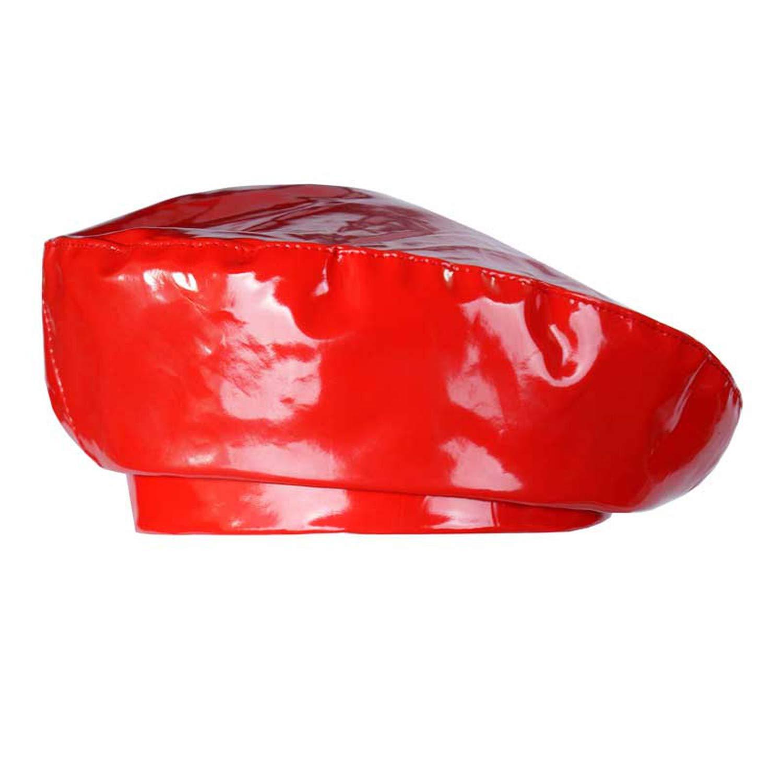 Patent Leather Beret Ladies Hats Solid Color Flat Top Hat PU Slouchy Bone Captain Cap