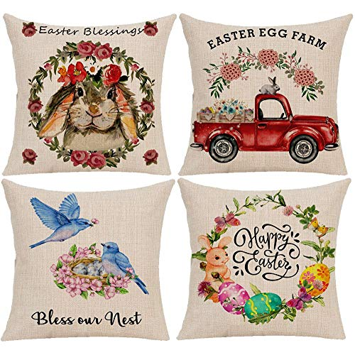 Wilproo Easter Spring Throw Pillow Covers, Rabbit Egg Bunny Throw Cushion Cover Pillowcase with Hidden Zipper Sturdy for Home Car Sofa Decor 18 x 18 Inches Set of 4 ()