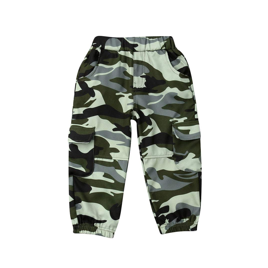 Aaaaamber Toddler Kids Boy Casual Camo Trousers Army Military Pants Bottoms Summer Outfit Camouflage Pants Long Pants 2-7T