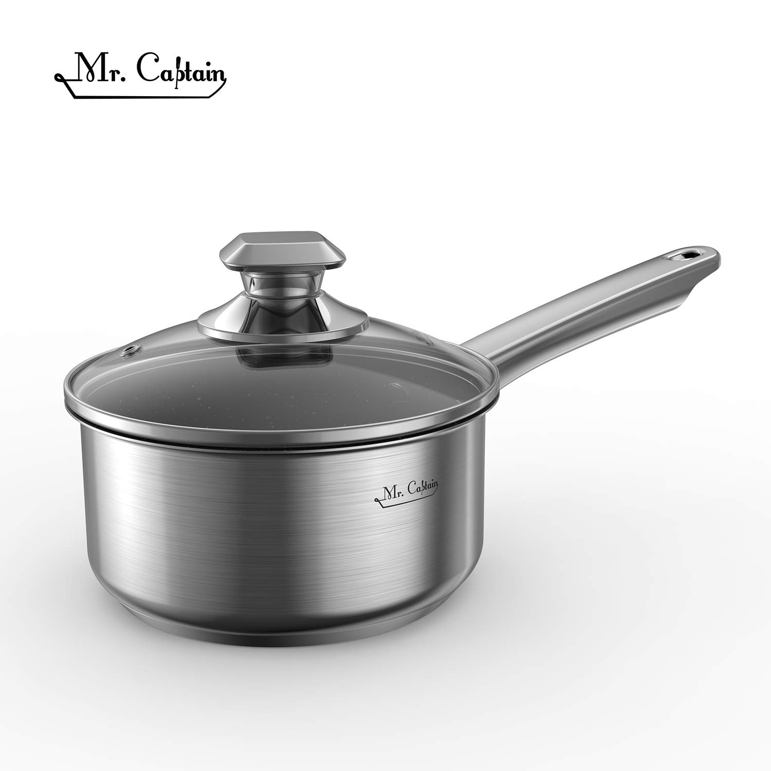 Mr Captain 1 Quart 18/10 Stainless Steel Nonstick Saucepan With Lid,Stone-Derived Non-Stick Granite Coating Small Pot Induction Compatible Dishwasher Safe,Oven Safe