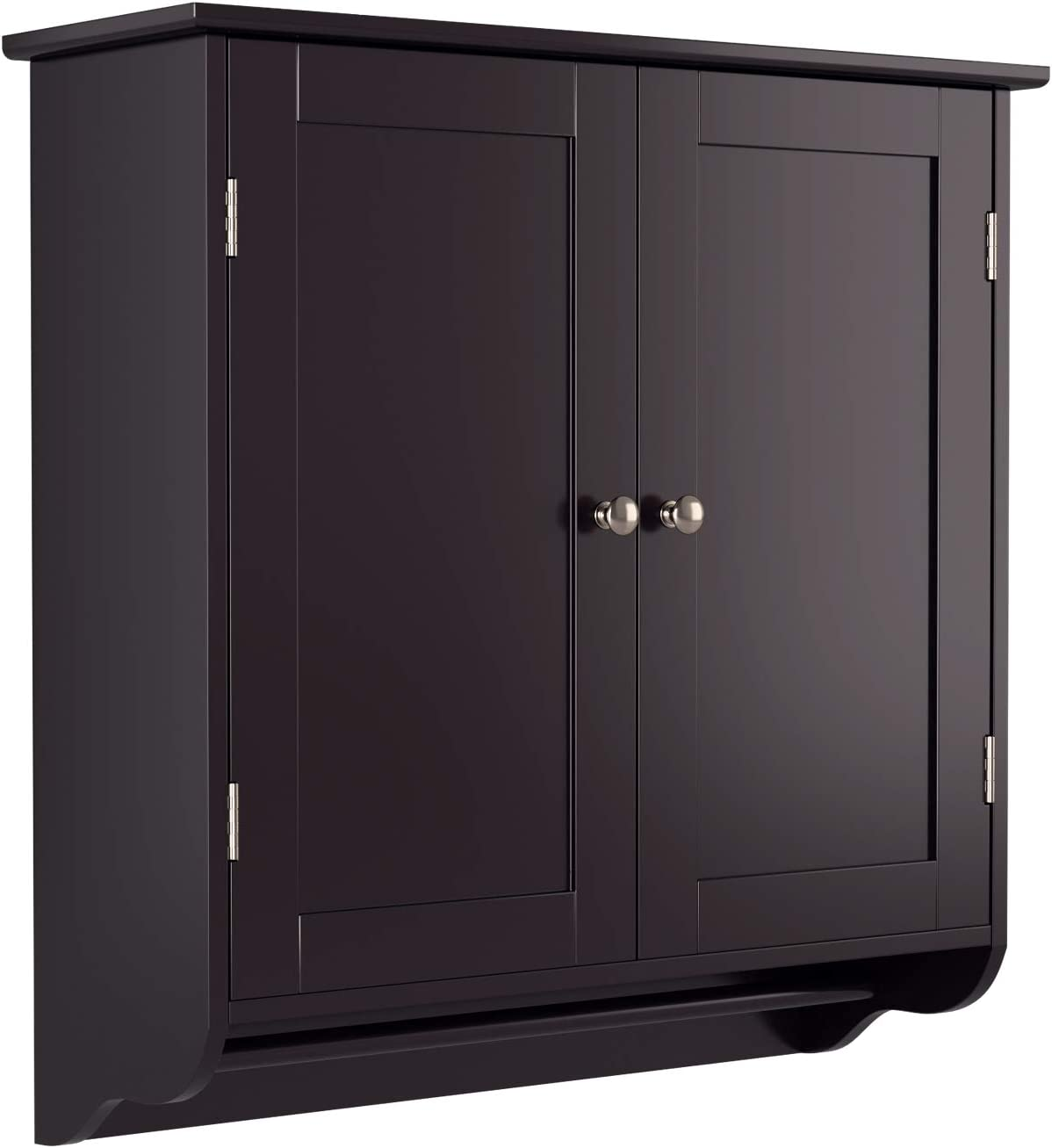 Amazon Com Homfa Bathroom Wall Cabinet Over The Toilet Space Saver Storage Cabinet Kitchen Medicine Cabinet Doule Door Cupboard With Adjustable Shelf And Towel Bar Dark Brown Kitchen Dining