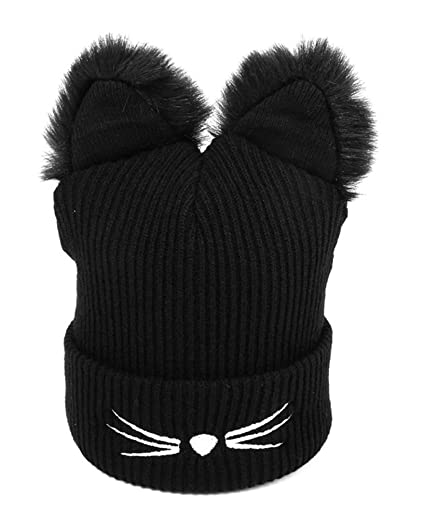 Women s Hat Cat Ear Crochet Braided Knit Caps Knit Black Beanie (Free Size 1a23b557ad9e