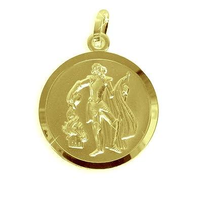 Echt Goldsilber Heiliger Florian Medaille Patron Der Feuerwehr 18mm