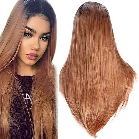 Golden Rule peluca de mujer moda Ombre resistente al calor sintético negro raíz marrón peluca recta