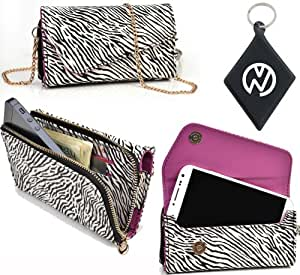 Exclusive White And Black ZEBRA Safari [URBAN] Phone Case Wristlet Fits Motorola Q8 + NuVur ™ Keychain (ESMLUSZ1)