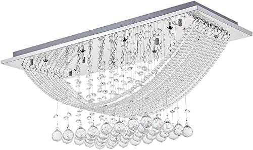 Dst Modern Crystal Chandelier Lighting, Bridge Wave Rain Drop K9 Crystal Ceiling Light Rectangle Flush Mount LED Pendant Lights for Dining Room, Livingroom, Bedroom, Romantic Decor L28 W10 H12