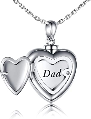 Amazon Com Urn Pendant Necklace Forever In My Heart Mom Dad Cremation Jewelry Memorial S925 Sterling Silver Jewelry Necklace For Ashes Keepsake Jewelry Dad Clothing