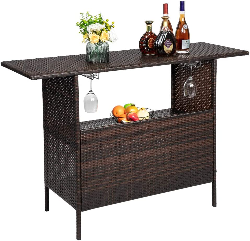 SUR-SOUL Outdoor Patio Wicker Bar Counter Table Modern Stylish and Beautiful Bar Table with 2 Steel Shelvesr Brown Gradient 2 Sets of Garden Patio Furniture