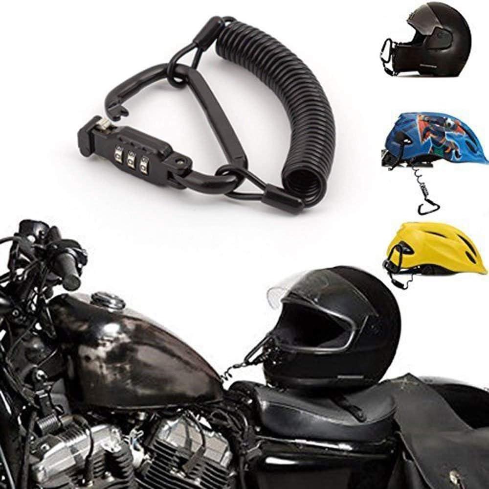 Motorcycle Helmet Lock Black Combination PIN Locking Carabiner Secure Motorcycles Lock with 6 feet Cable,Bike Helmet,Jacket,Cabinets Luggage Waterproof Lock