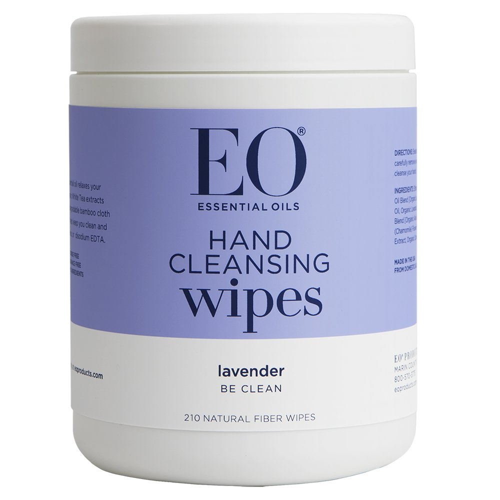 EO Hand Cleansing Natural Fiber Wipes, Lavender, 210 Wipes by EO