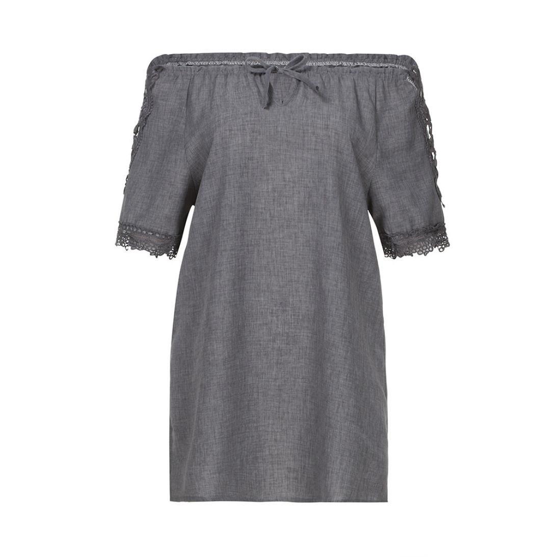 ... Blusas Para Mujer, Las Mujeres de Manga Corta de Encaje Patchwork Camisetas Blusa Suelta Tops Camisa (2XL, Gris Oscuro): Amazon.es: Ropa y accesorios