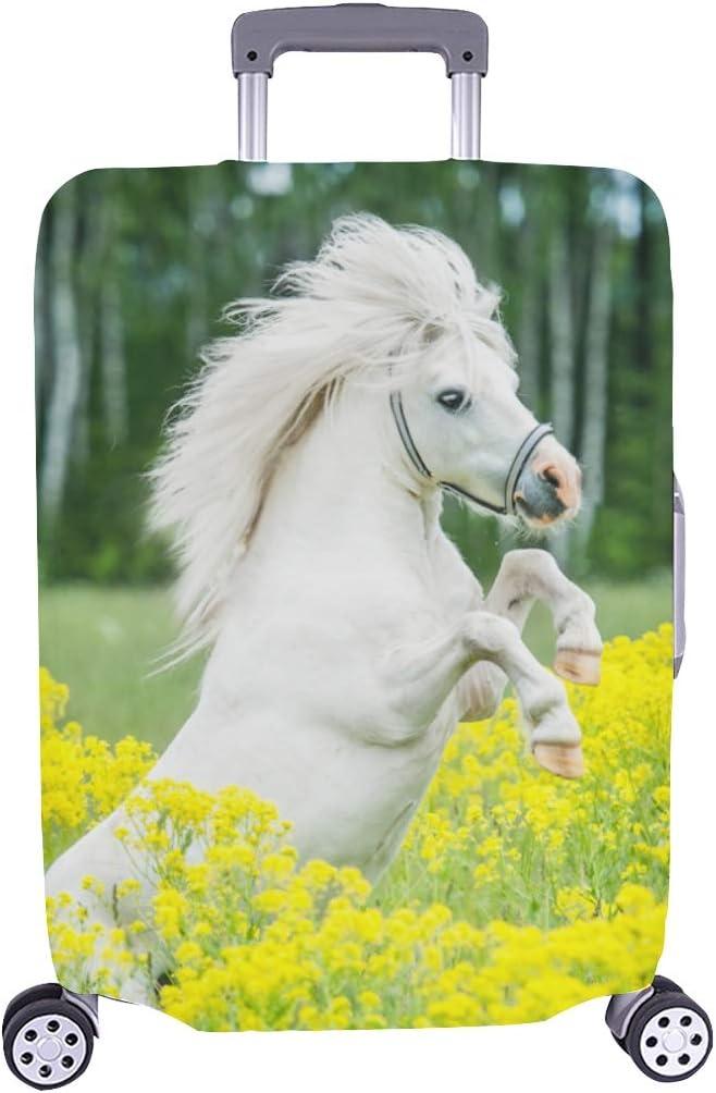 Pony Blanco con patrón de Flores Amarillas Spandex Maleta de Viaje Cubierta Protectora para de Maleta 28.5 x 20.5 Pulgadas(Sólo la Cubierta de Polvo del Equipaje)