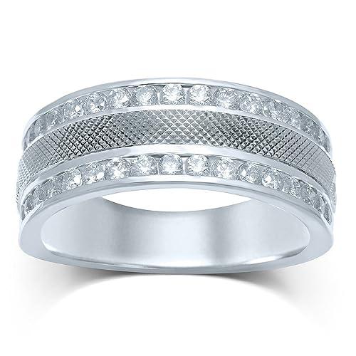 Anillo de boda de oro blanco de 14 quilates para hombre, redondo, diamante,