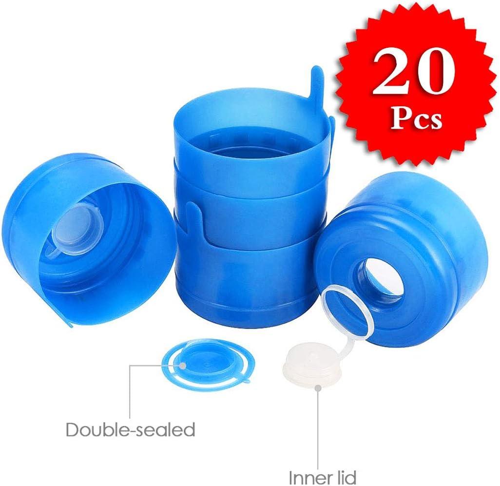 20 tapones antiderrames, reutilizables de 55 mm, 3 y 5 galones de agua, tapas antisalpicaduras