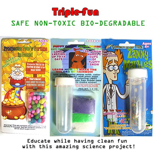 Bundle (3): Instant Color Snow, Zanny Marbles and Magic Stone, Triple Fun for Kids to Learning Science