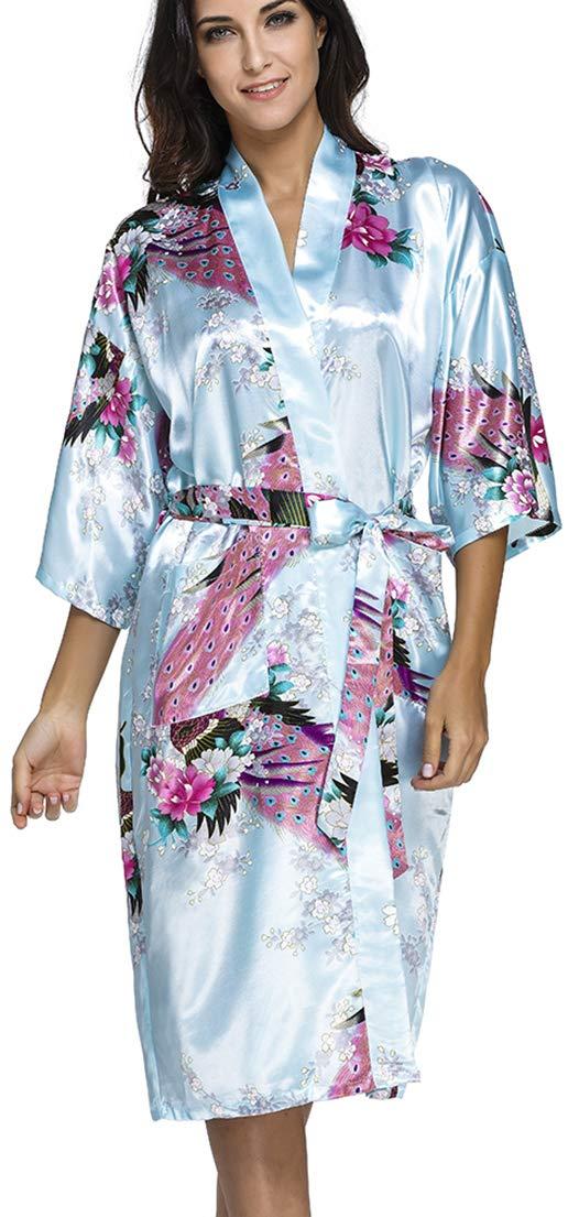 d7a0a5ad2e2c8c OLIPHEE Lange Kimonos für Damen Bademantel aus Satin mit Pfau und Blüten  Morgenmantel Robe product image