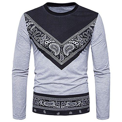 Otoño Gris De Hombre Personalidad Para Hombre Blusa Slim moda Camisetas Camisa Bbestseller Fit Sudadera Larga Manga Casual Tops Camiseta RwRd0U