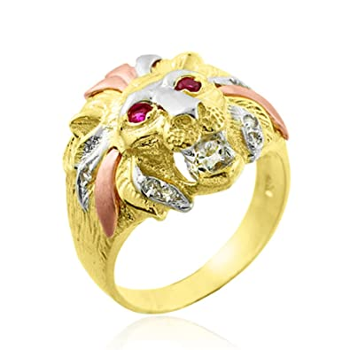 14k Tri color Gold Lion Head Men s CZ Ring Amazon