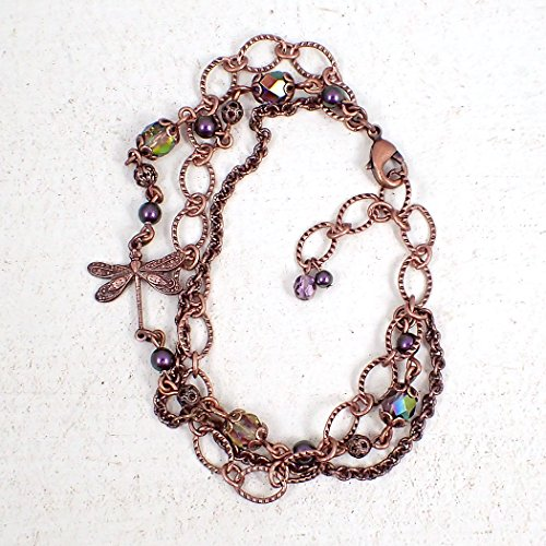 Copper-Colored Dragonfly Bracelet with Iridescent Beads - Adjustable from 6.75 to 8.25 Inches ()