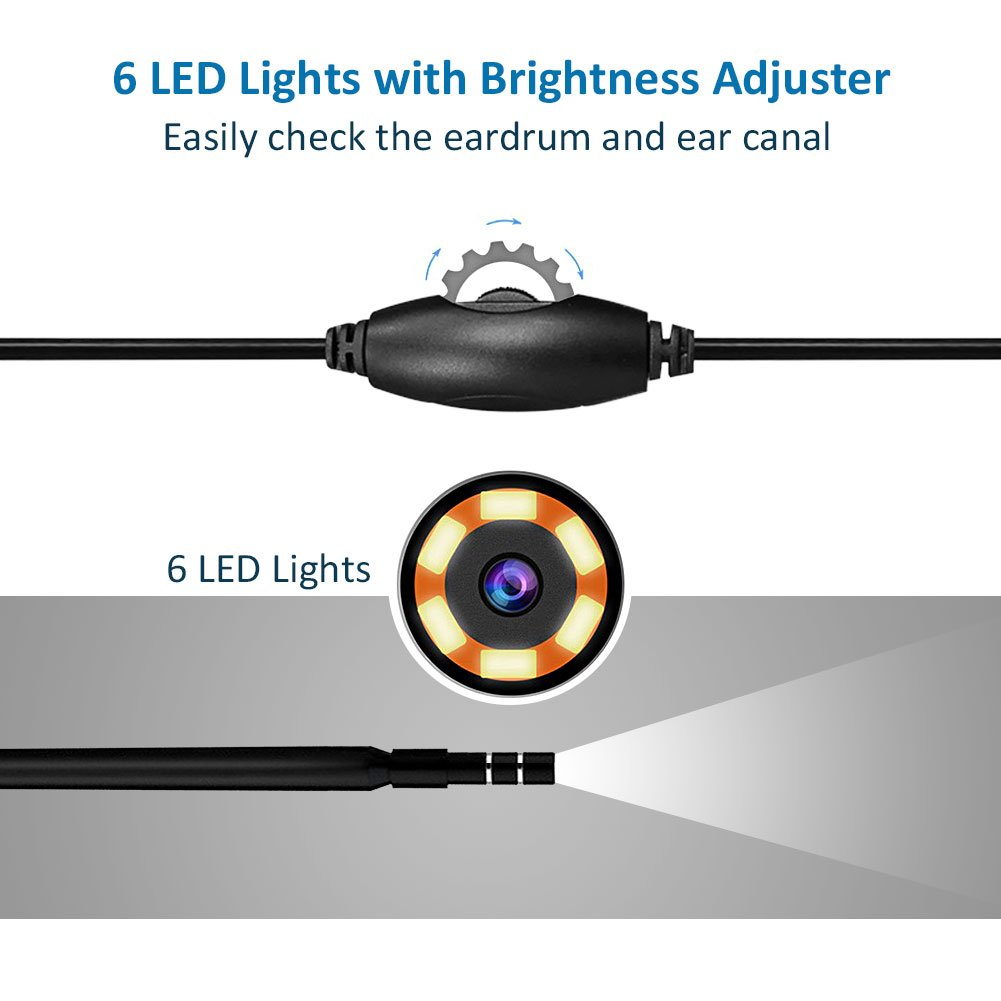 3 in 1 Ear Cleaner Endoscope, 720P HD Visual Earpick Tool Earwax Remover Ear Scope Inspection Tube Camera with 6 Led Adjustable Light for Micro USB Type-C Android Device with OTG, Windows, Mac PC by Eleshroom (Image #3)