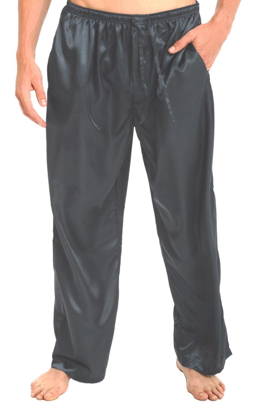 Alexander Del Rossa Mens Satin Pajama Pants, Long Pj Bottoms, 3XL Steel (A0757STL3X)