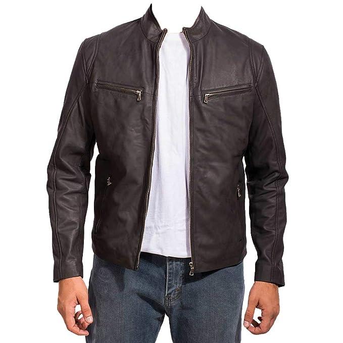 Amazon.com: Chaqueta de piel de cordero para hombre, estilo ...