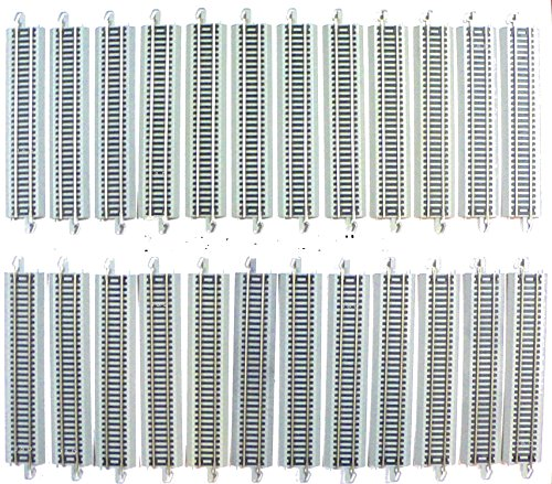 (HO Scale Bachmann Nickel Silver EZ Track 24 Pieces of 9 inch straights for Model Railroad Trains)