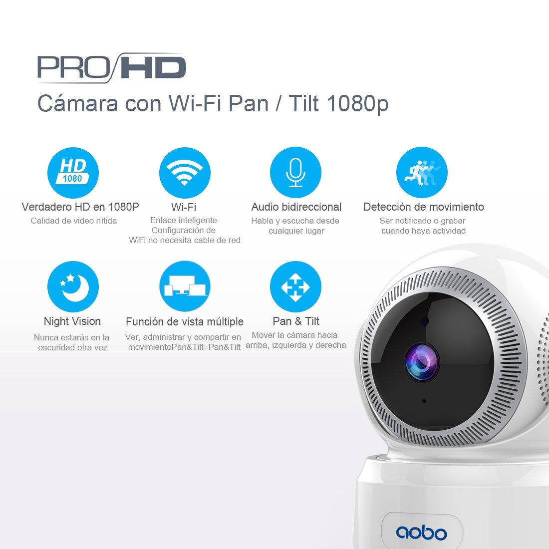 AOBO IP Camara de Vigilancia WiFi Interior Inalámbrico HD P2P con Micrófono y Altavoz IR Visión Nocturna Detección de Movimiento Seguridad para Bebé y ...