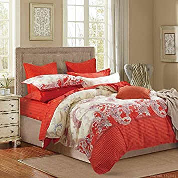 Unique Oriental Red Duvet Covers Cotton Bed Linen Beach Bedding Vintage  Bedding Quilts Bed Cover King
