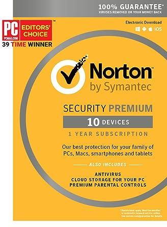 amazon com norton security premium 10 device key card software