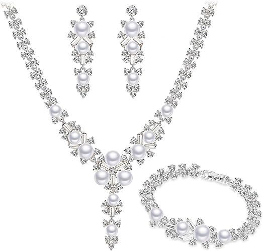Juegos de Joyas Collar Pendientes Pulsera Tono Plateado Cristal Simulado Perlas Fashion Nupcial Boda