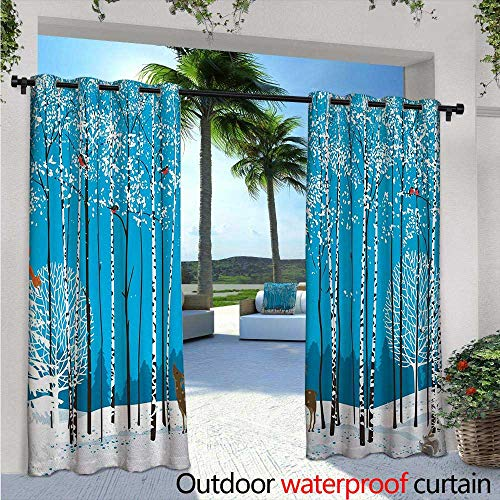 Christmas Outdoor- Free Standing Outdoor Privacy Curtain W96