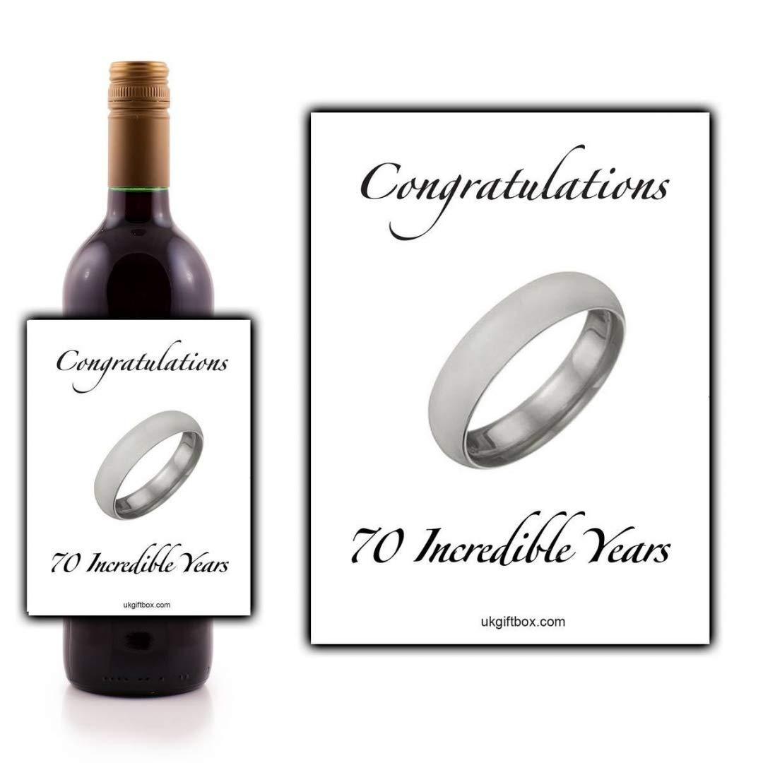 Félicitations 70ans incroyable étiquette de bouteille de vin–parfait pour ajouter une touche spéciale à un cadeau 70e anniversaire ukgiftbox