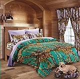 20 Lakes Hunter Camo Comforter, Sheet, Pillowcase Set (Queen, Teal/Lavender)