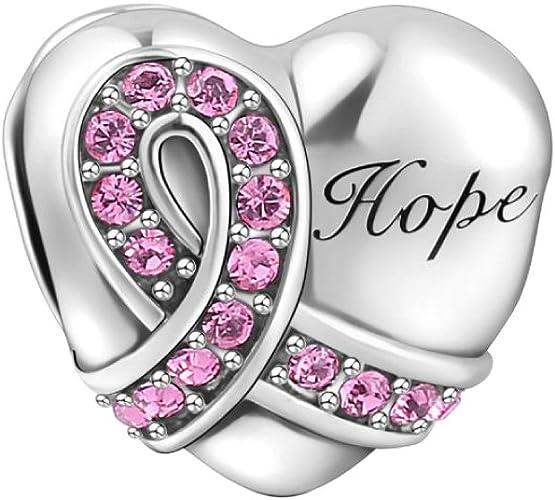 SOUFEEL Pink Ribbon Heart Charm Swarovski 925 Sterling Silver Charms for  Bracelets Necklaces