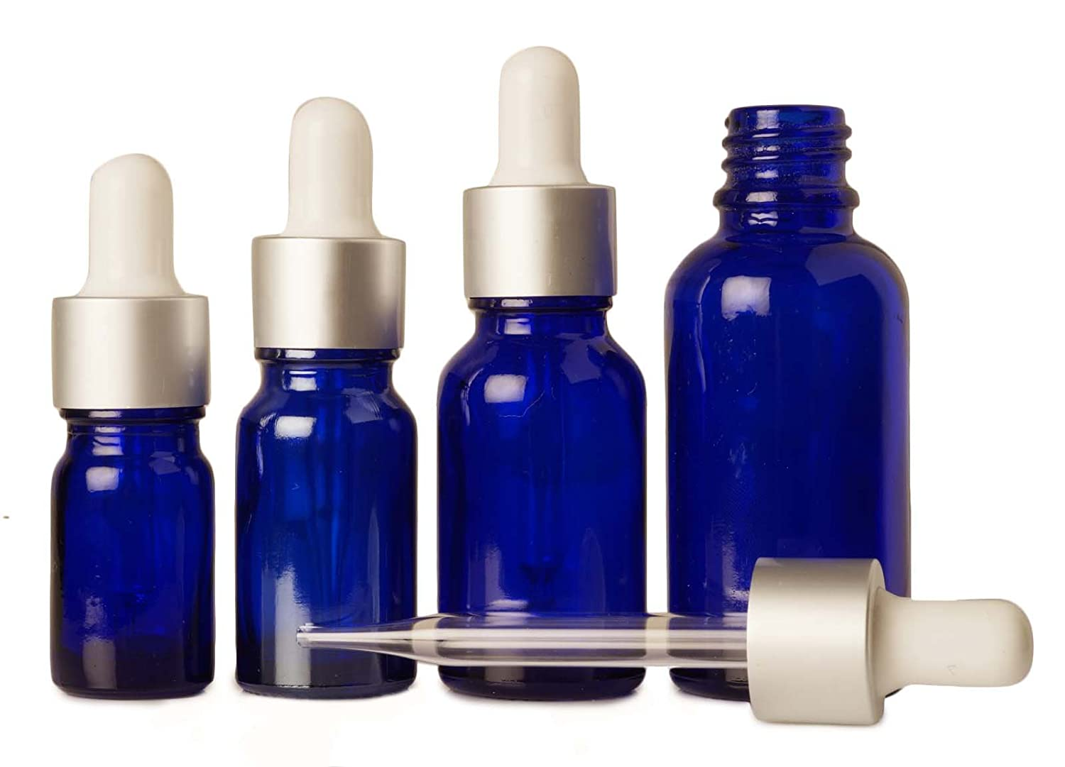 12 Piece Empty Cobalt Blue Glass Eye Dropper Bottle Boston Round Wholesale Serum Bottles Aromatherapy Oils Refillable Pipette Drop Vials 15 ml MT Bottles & Jars