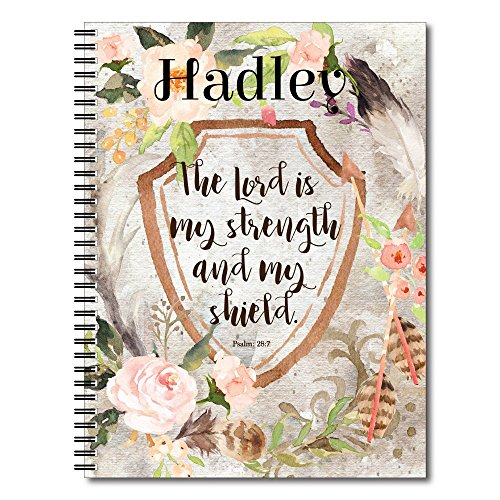 Shield Personalized Religious Inspiration Spiral Notebook/Journal, 120 College Ruled or Checklist Pages, durable laminated cover, and wire-o spiral. 8.5x11 | 5.5x8.5 | Made in the USA