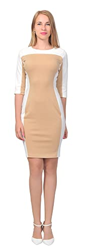 Marycrafts Women's Office Work Slim Pencil Dress Color Block Dresses