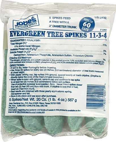 Jobe's Evergreen Tree Fertilizer Spikes 11-5-7 Time Release Fertilizer for Evergreen Trees & Shrubs, 5 Spikes per Clear Bag Evergreen Tree Spike