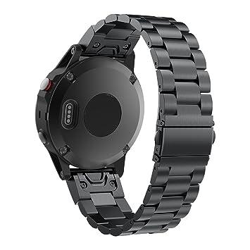 Pinhen Bracelet de montre pour Garmin Fenix 5, installation facile, Bracelet de remplacement en acier inoxydable ...