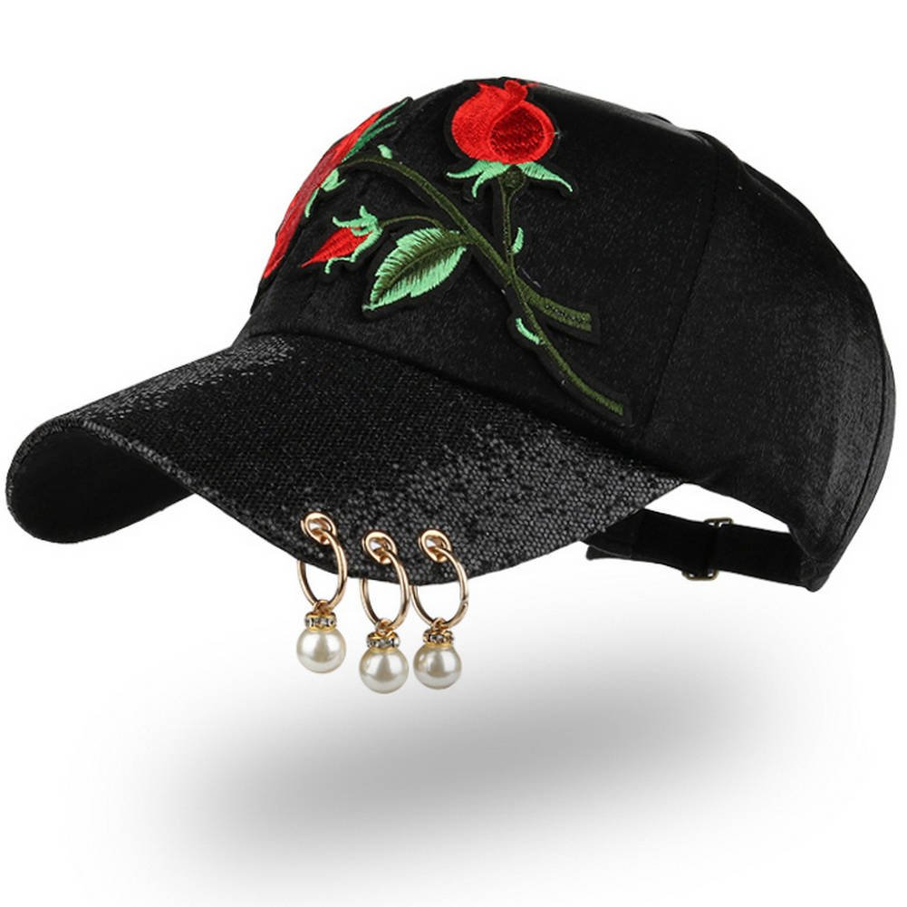 AKIZON Women's Adjustable Baseball Caps Fashion and Casual Style Hat for Women (7 3/8 (L), Black Baseball Cap)