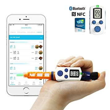 DIABNEXT Connector Clipsulin for Insulin Pen - Bluetooth and NFC Dose -  Diabetes Digital Log Book   Store & Track Dosage, Date & Time of Injection   