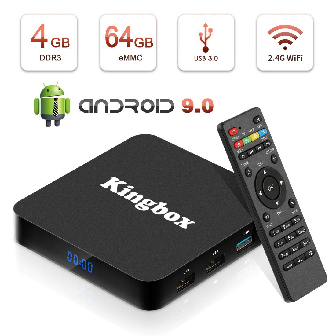 Kingbox Android 9.0 TV Box with 4GB RAM 64GB ROM, 2019 K4 MAX Android Box Quad-Core Support BT 4.1/ H.265/ 4K/ 3D/ 2.4GHz WiFi Smart TV Box