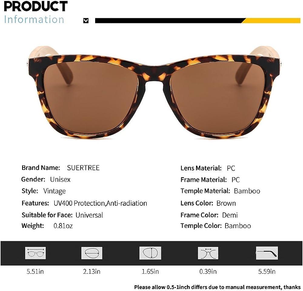 SUERTREE Fashion Bamboo Sunglasses Women Men Ladies Vintage Sun Glasses JH8001-8003