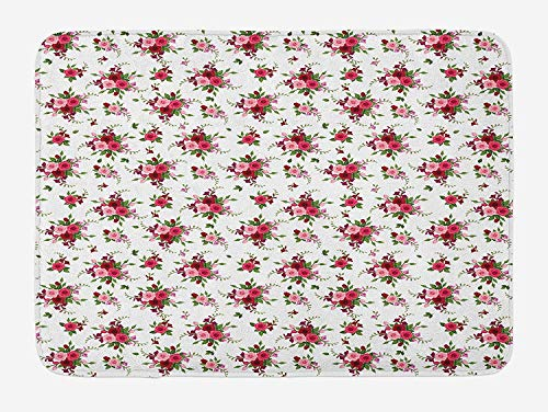 Flowers Bath Mat, Bridal Bouquets Pattern with Roses and Freesia Romantic Victorian Composition, Plush Bathroom Decor Mat with Non Slip Backing, 23.6 W X 15.7 W Inches, Pink Ruby Green