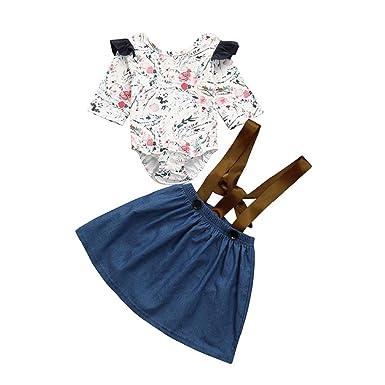 23dc974fdfb Amazon.com  2PCS Baby Girls Suspender Romper