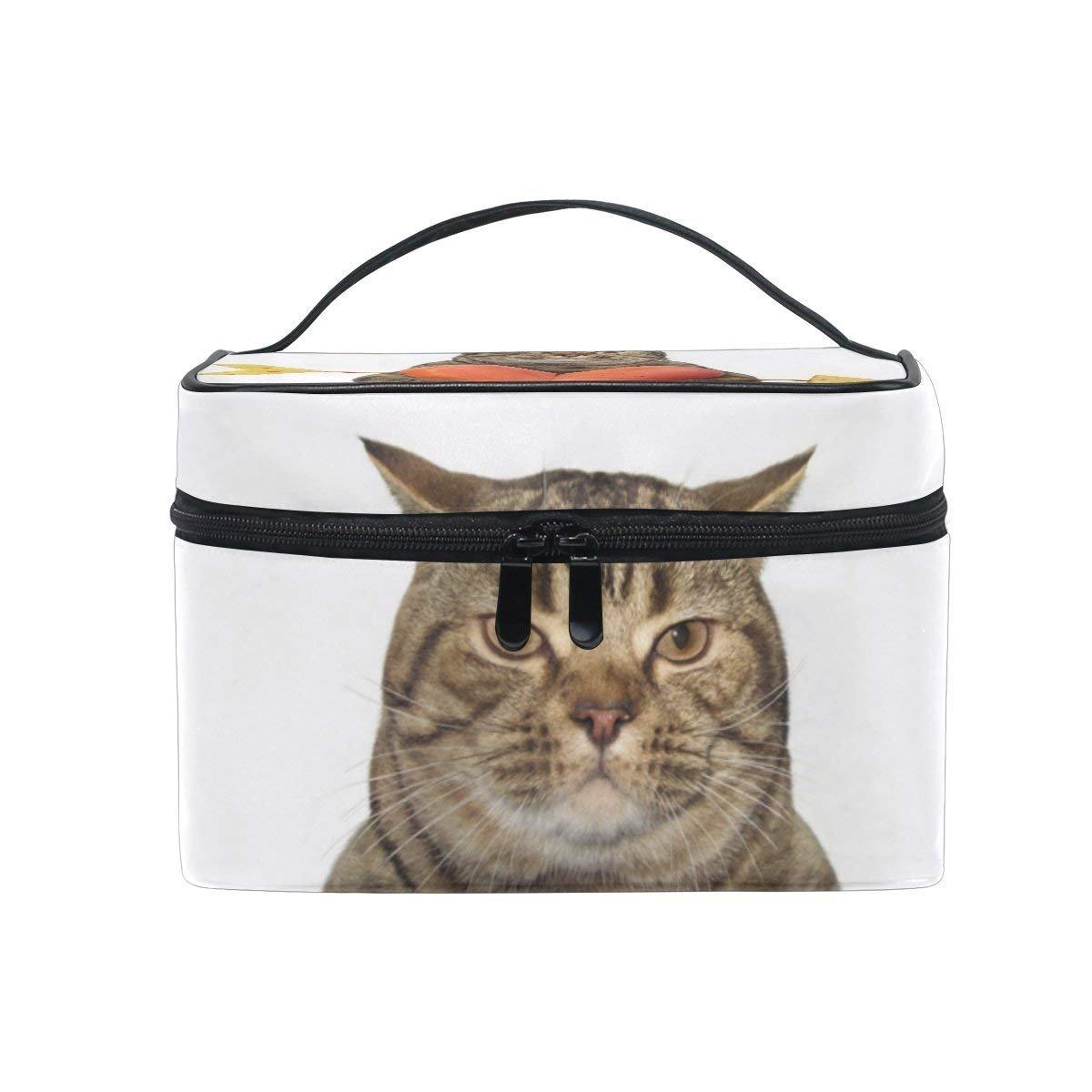 Makeup Bag Funny Cat Hold Love Heart Mens Travel Toiletry Bag Mens Cosmetic Bags for Women Fun Large Makeup Organizer